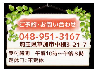 ご予約・お問い合わせ 048-951-3167